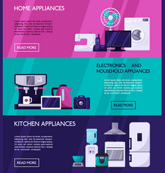 Home appliances horisontal banners concept page vector