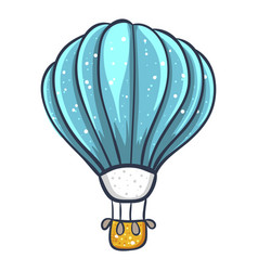 hot air large balloon with a basket in flight vector image