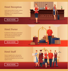 Hotel personnel flat banners vector