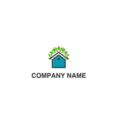 house and green leaf eco house logo inspiration vector image