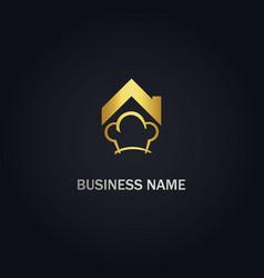house chef restaurant gold logo vector image