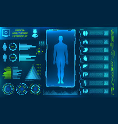hud ui for medical app futuristic user interface vector image