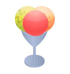 Ice cream balls icon isometric style vector