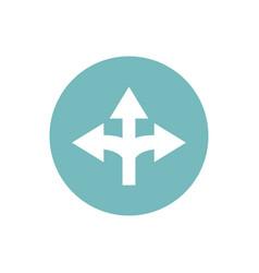 icon three way direction arrow in color circle vector image