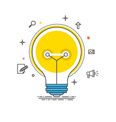Idea lines design bulb flat vector