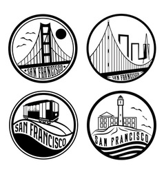 Landmarks of san francisco vintage labels set vector