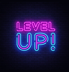 Level up neon text level up neon sign vector