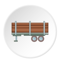 Logging truck with logs icon cartoon style vector