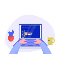 man programmer working on computer with code vector image