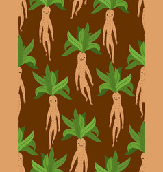 Mandrake root seamless pattern legendary mystical vector