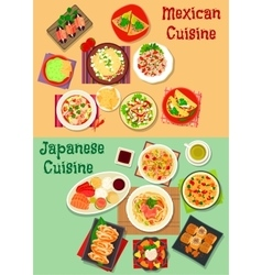 Mexican and japanese cuisine dinner icon vector