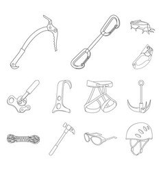 Mountaineering and climbing outline icons in set vector