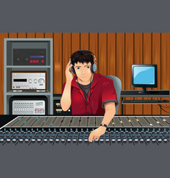 Music producer in studio vector