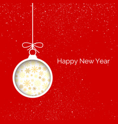 new year greeting card cover cut paper christmas vector image