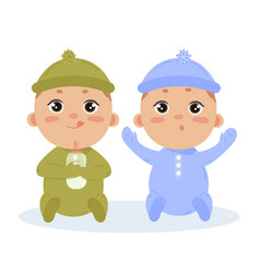 Newborn baby boy twins sitting together vector