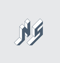 Ns - logo or 2-letter code isometric 3d font vector