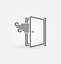 Opened door linear icon airing a room vector