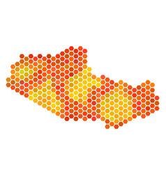 Orange hexagon tibet chinese territory map vector