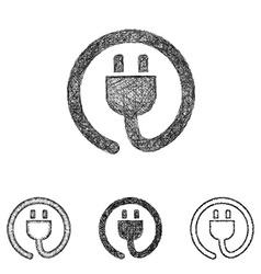 Plug icon set - sketch line art vector