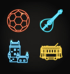 Portuguese culture icon set in glowing neon style vector