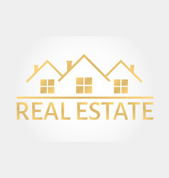 Real estate gold logo house icon in line style vector
