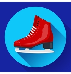 Red classic ice figure skates icon Sport vector