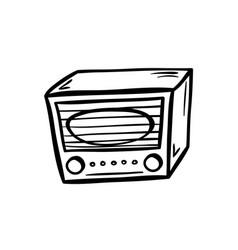 Retro radio doodle vector