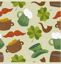 saint patricks day seamless background with clover vector image