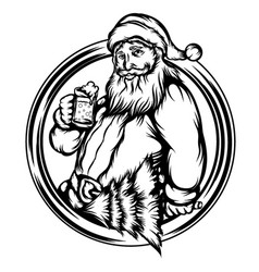 santa claus hold drink in frame vector image