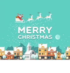 Santa Claus in sky above the town Christmas card vector