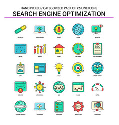 search engine optimization flat line icon set vector image