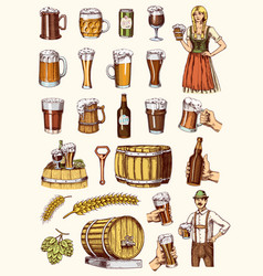 set beer glass mug or bottle oktoberfest vector image