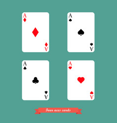 Set four aces playing cards vector