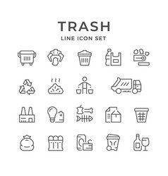 Set line icons of trash vector
