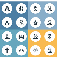 Set of simple faith icons elements catholic vector