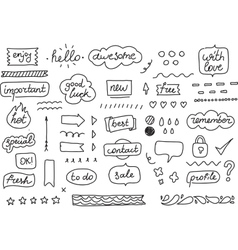 Set of stickers tags labels Hand drawn design vector