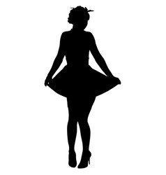 Silhouette of pin-up sexy girl vector