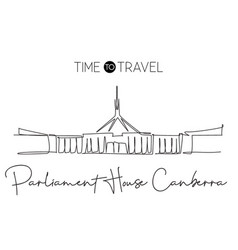 Single continuous line drawing parliament house vector