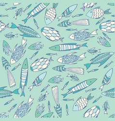 soft blue pattern with fishes in a chaotic manner vector image