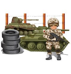 Soldier holding gun and two military tanks vector image