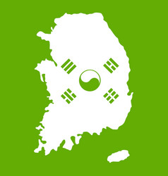 South korea map with flag icon green vector