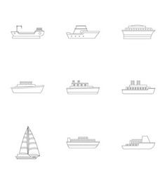 Speedboat icons set outline style vector