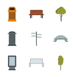 Square icons set flat style vector image