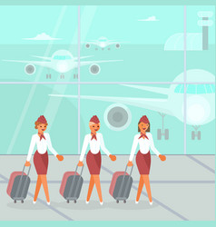 stewardesses characters with suitcase vector image