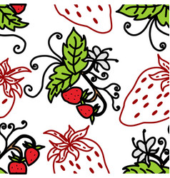 strawberry fruit pattern seamless template vector image
