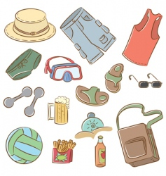 summer mans vacation icons set vector image