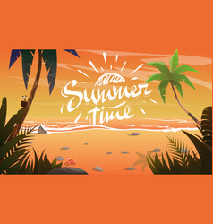 Summertime on ocean coast vector