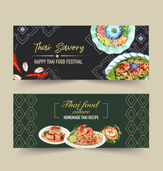 Thai food banner design with pad dry rice vector