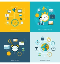 Time management flat icons vector image