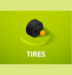 Tires isometric icon isolated on color background vector